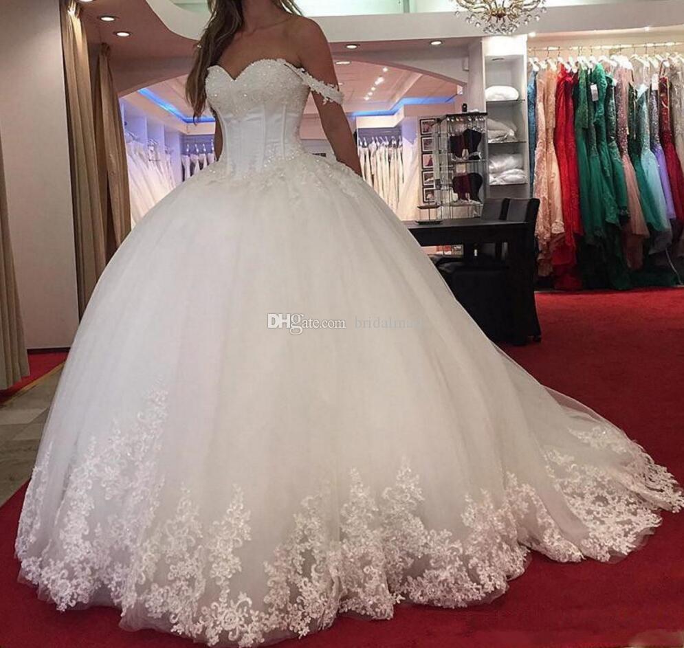 Magnifiques perles 2019 Appliques robe de bal robes de mariage pour les mariées hors épaule Une ligne Robes de mariée Plus Size Custom Made Vestidos De Novia