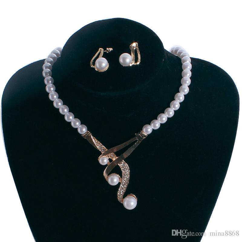 Women Artificial Pearl Necklace Choker Earrings Set Wedding Party Jewelry Gift