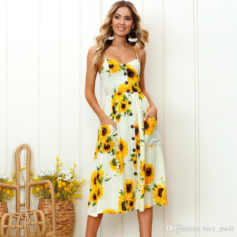 Simplee Strap v neck summer dress women Sunflower print backless casual dress vestidos Smocking high waist midi dress female Beach Dresses