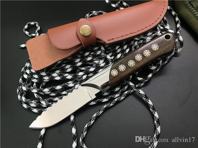 High End New Design Fixed Blade Knife 9Cr18 Satin Drop Point Blade Full Tang Steel Ebony Handle Survival Straight Knives