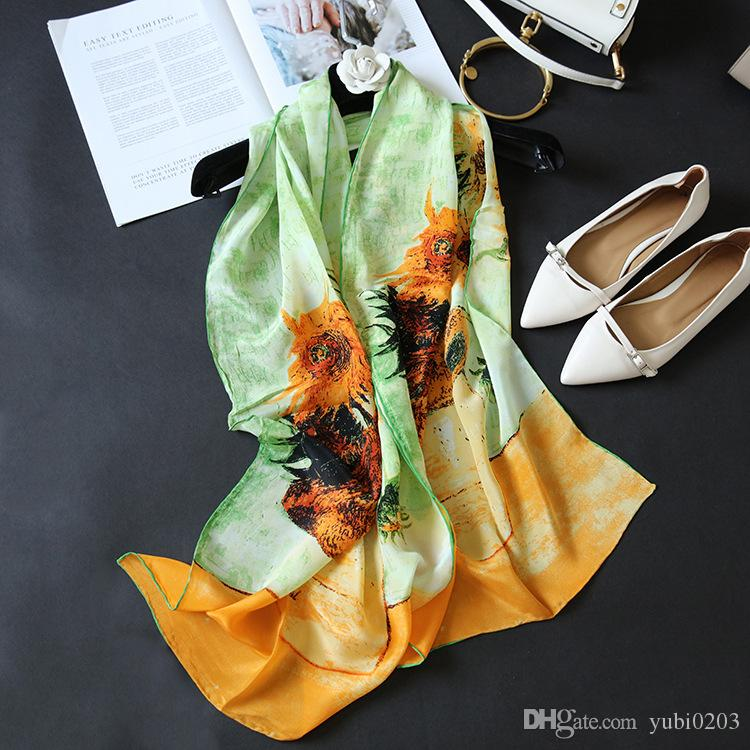 New spring and summer scarf Oil painting Sunflower 100% Silk scarf Hand-rolled Long Beach Sunscreen Ms. shawl