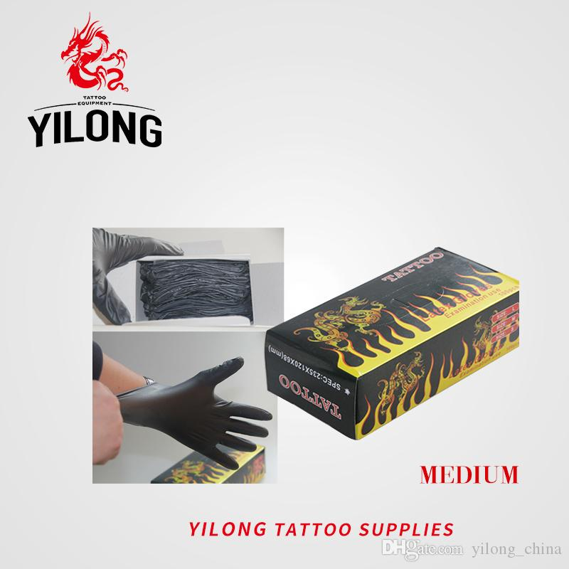 YILONG 100PCS High Quality Black Disposable Tattoo Latex Gloves Available Size Accessories Free Shipping Tattoo Body&Art