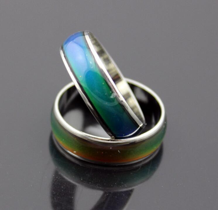 100 pcs moda anel de humor mudando cores anéis muda de cor para a sua temperatura revelar sua emoção moda barata jóias