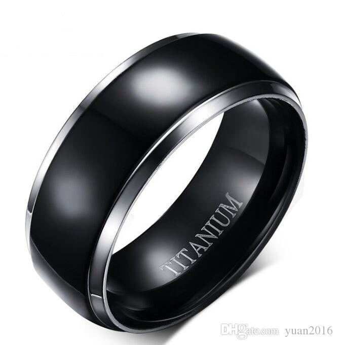 Frete grátis 9mm black titanium anel de casamento para mulheres / homens conforto fit venda quente nos EUA e na Europa