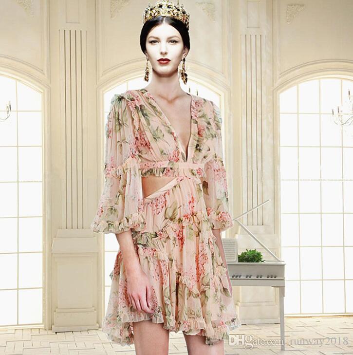 Хэллоуин подарок сексуальный V-образным вырезом кружева с длинным рукавом прозрачный печатный цветочный принт платье завод Оптовая Hign-End взлетно-посадочной полосы