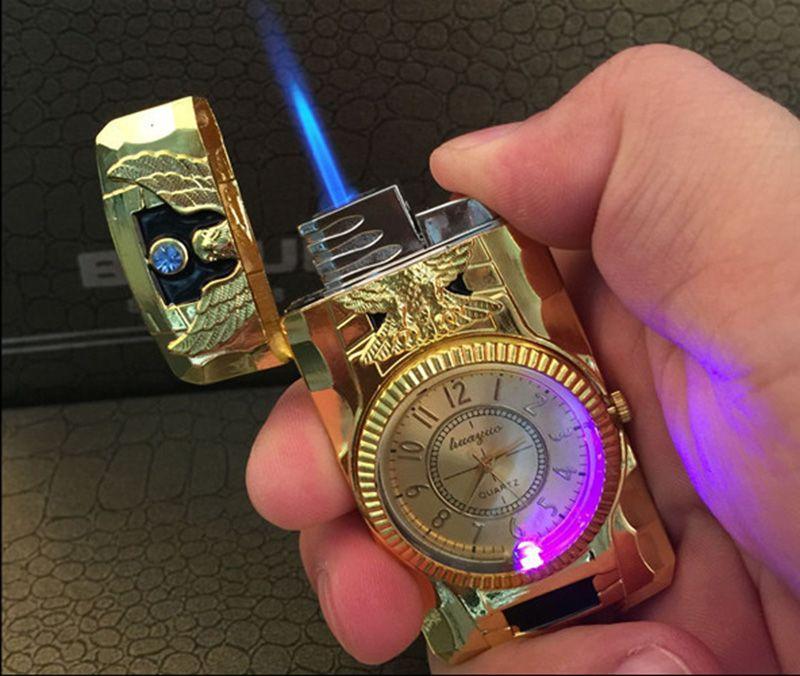 2 in 1 Jet Torch Quartz Watch cigarette Lighter Butane gas Refillable windproof blue scorch flame metal for kitchen eagle gecko belt gold