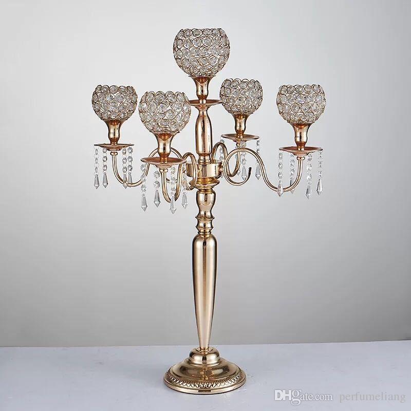 80cm Höhe 5-Arm Metall Gold / Silber Kandelaber mit Kristall Anhänger Hochzeit Kerzenhalter Event Herzstück Party Dekoration