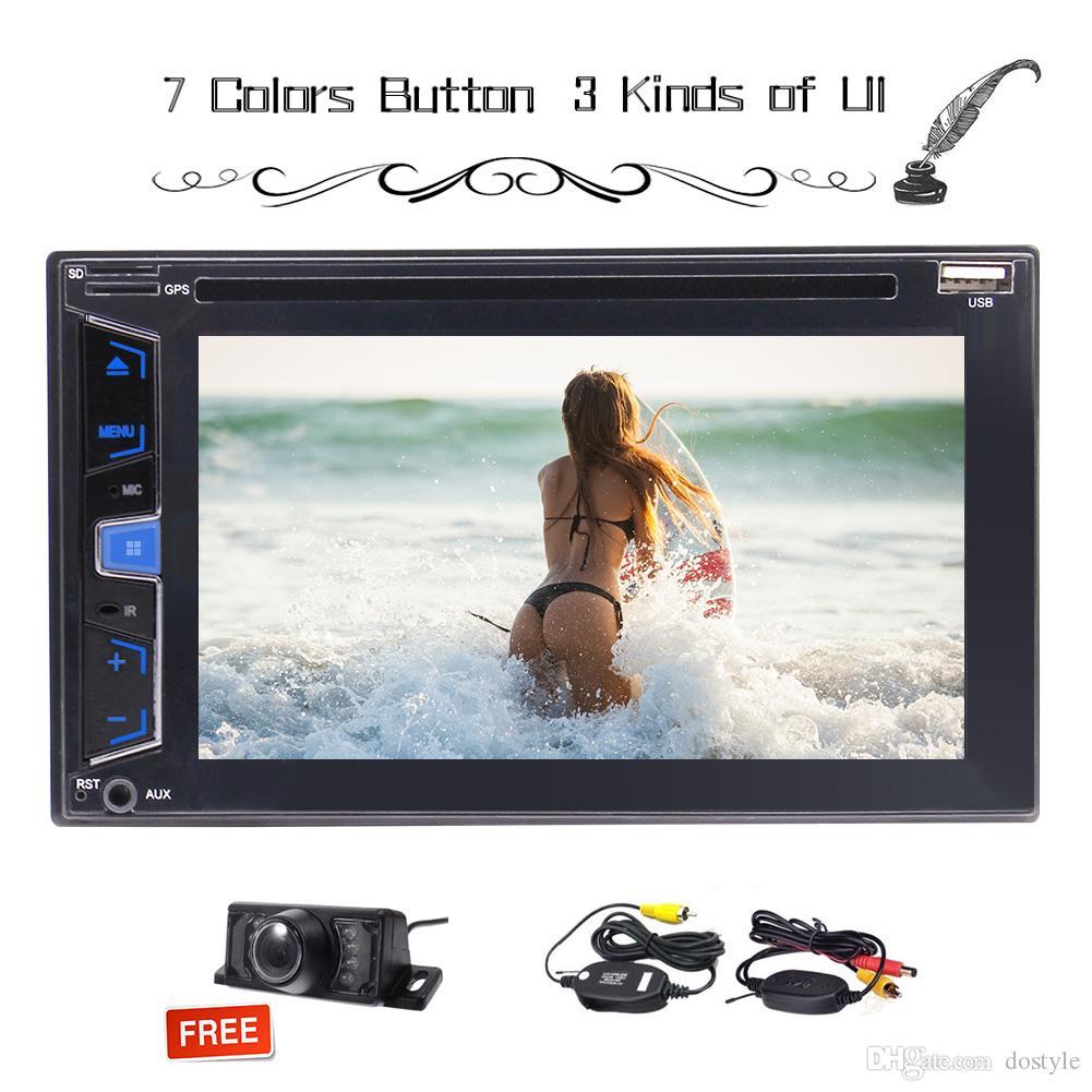 Doble 2 DIN 6.2 '' In Dash Estéreo Autoradio Coche DVD CD USB FM / AM / RDS sintonizador de radio Múltiples pantallas táctiles Unidad principal Control del volante