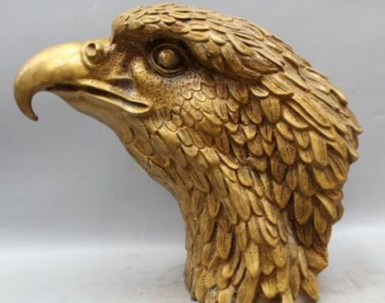 """14"""" Chinese Fengshui Bronze eagle Head Bust king of birds Statue sculpture"""