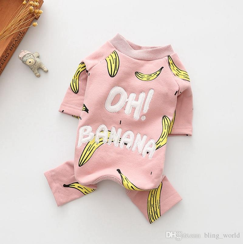 Dog Clothes Cotton Pet Jumpsuit Banana Printed Dogs Pajamas Cute Puppy Coat Winter Pets Dog Clothing 2 Colors 50pcs YW1692