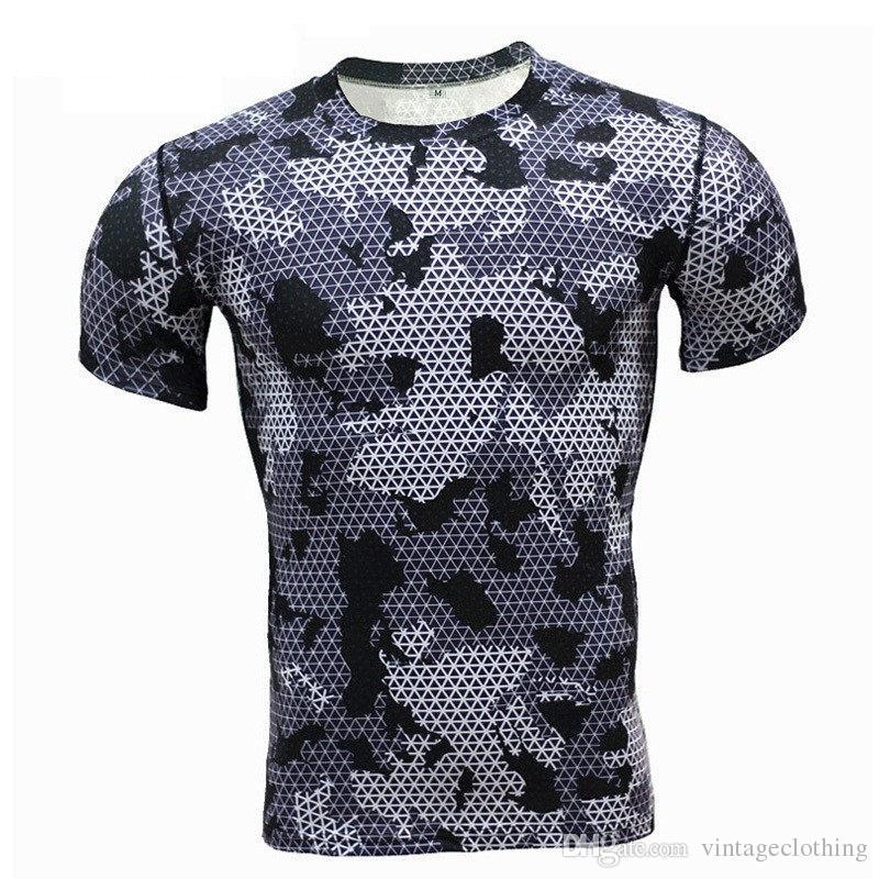 2018 Été vert Camo T-shirts hommes Crossfit Compression shirt à manches courtes GYMNASES T-shirts MMA Fitness T-shirt Top T-shirts