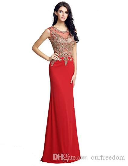 Clearbridal Long Mermaid Gold Lace Appliques Prom Evening Gowns LX211