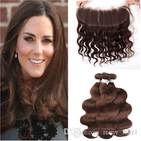 Malaysian Dark Brown Human Hair 3Bundles Body Wave Wavy Weaves Extensions with Frontal 13x4 Chocolate Brown Full Lace Frontal Closure