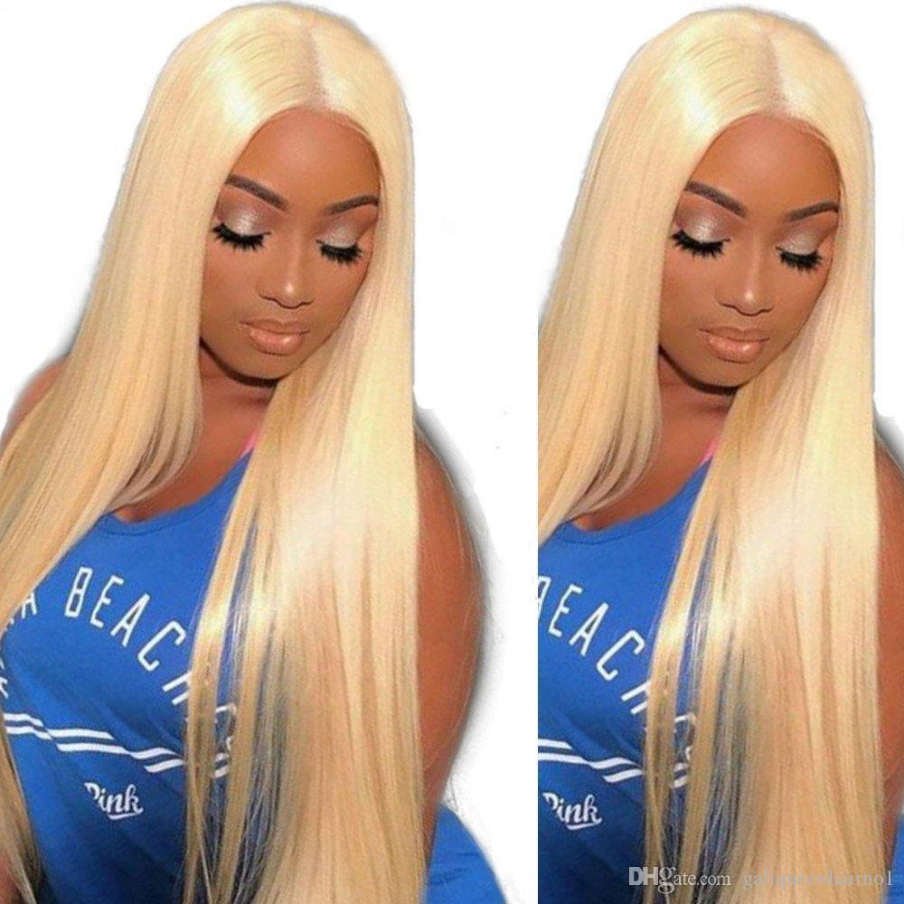 613 # 금발의 스트레이트 바디 웨이브 프론트 레이스 가발 여성을위한 100 % 인간의 머리 가발 아기 머리를 뽑아 냈습니다