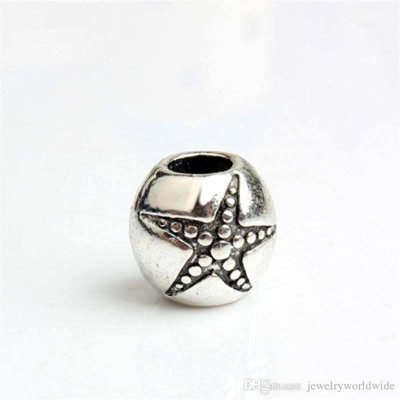 Starfish in runde legierung charme perle großes loch mode frauen schmuck europäischen stil für diy armband halskette