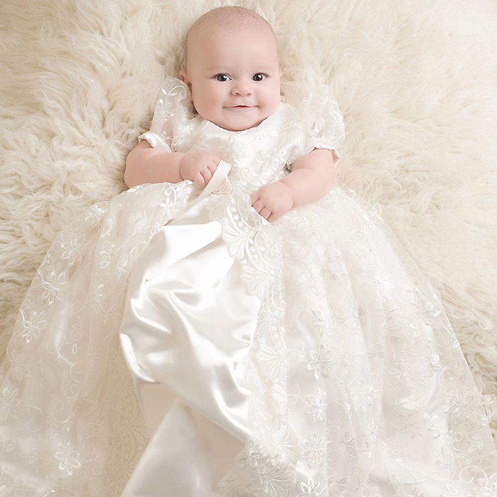 großhandel prinzessin white lace baby taufe kleider kinder taufe kleider  kurzarm vintage baby mädchen taufe kleider kinder kleid von blissbridal,
