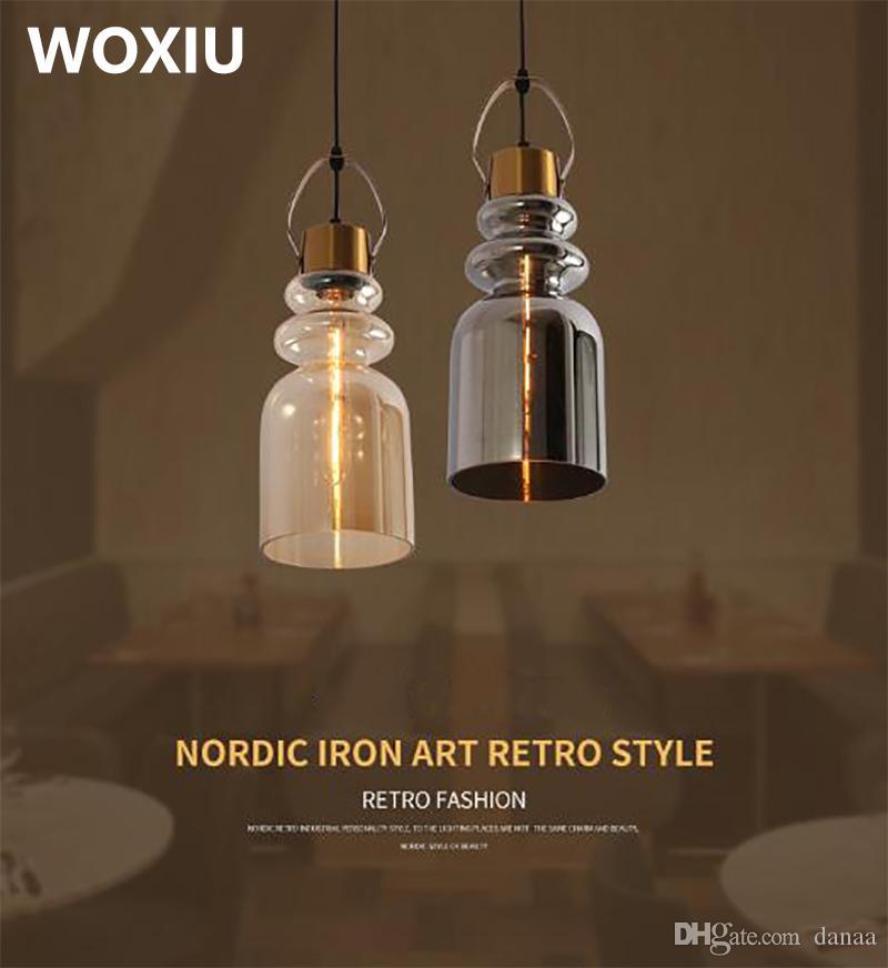 WOXIU 레트로 샹들리에 빈티지 램프 북유럽 현대 유리 빛 좋은 가구 산업 스타일 레스토랑 펍 카페의 세기 조명