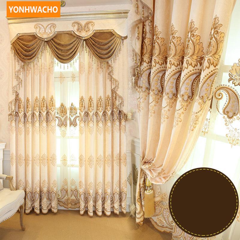 Cortinas personalizadas De alto grado de lujo chenille europeo paño de la sala de estar cortina opaca de tul cenefa cortina N759