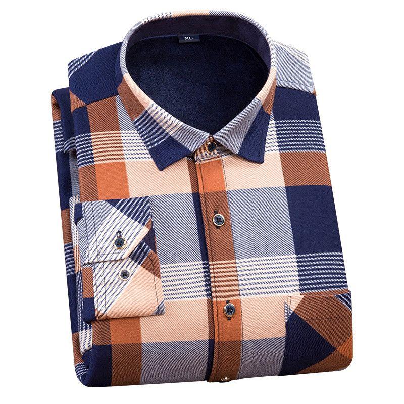 FFXZSJ Brand2018 남자 플러스 사이즈 4XL 겨울 슈퍼 따뜻한 남성 격자 무늬 셔츠 도매 드레스 셔츠 긴 소매 캐주얼 셔츠 camisa