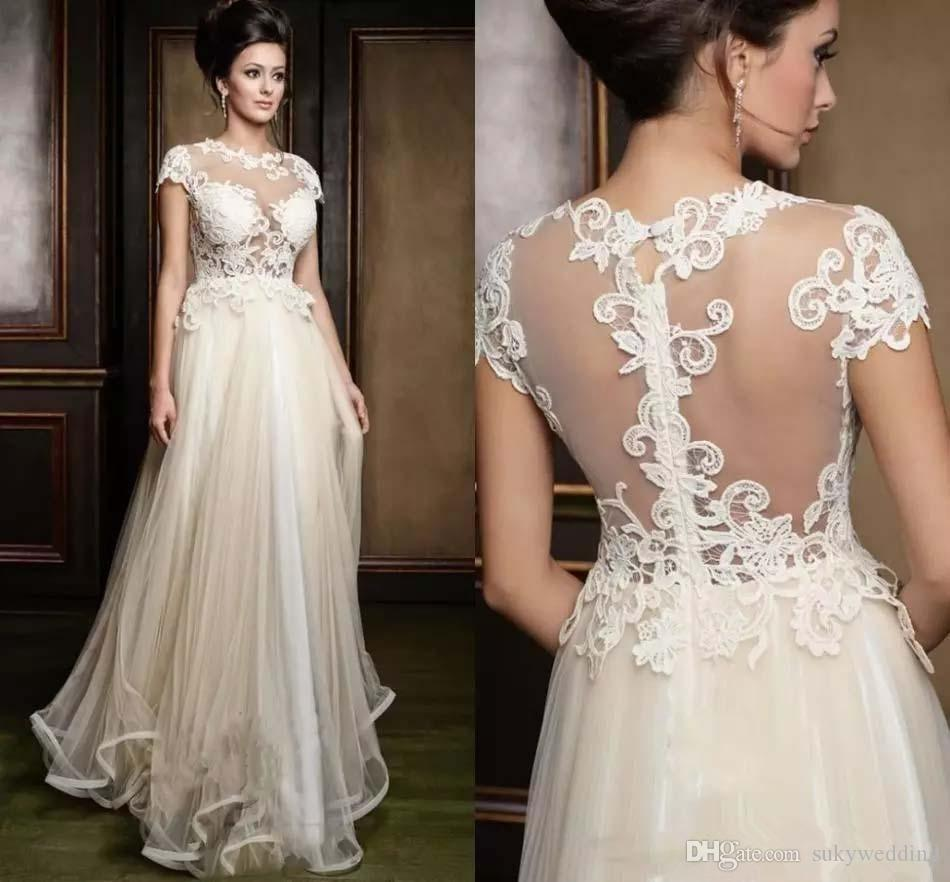Jewel Lace Wedding Dresses A line Sheer Mesh Back Summer Beach Seaside Bridal Gowns Appliques Wedding Gown Cheap Floor Length