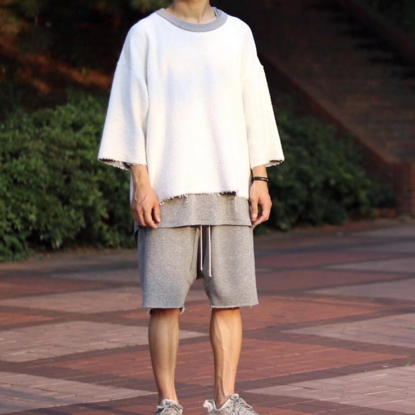 los hombres del otoño de la calle de hip hop de gran tamaño suéteres con capucha ropa para hombre hiphop tejido de rizo buena calidad streetwear