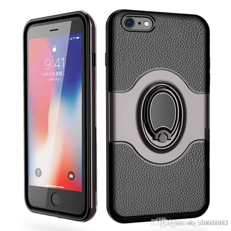 For Apple iPhone 6 6S Plus Shockproof Hybrid Armor Car Magnetic Mount Ring Holder Housing Cover Case