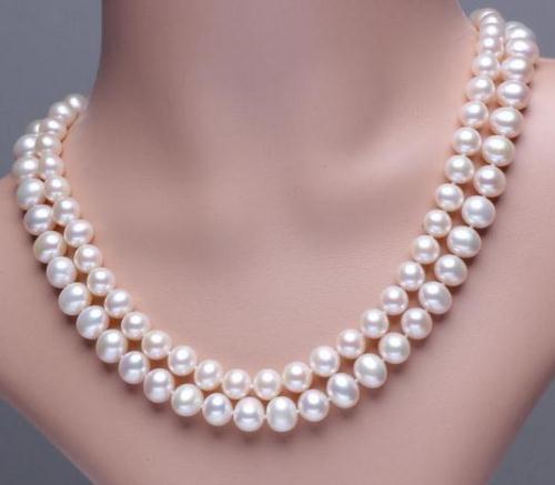 Vendita calda 8-9mm naturale dei mari del sud collana di perle bianche 18-19inch argento 925 catenina collane in rilievo