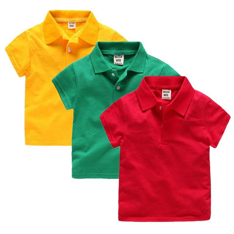 2017 nuevos muchachos de la manera camisas de polo para los niños ropa de los niños del verano del color sólido del algodón de manga corta muchachos de las muchachas camisa de polo paño