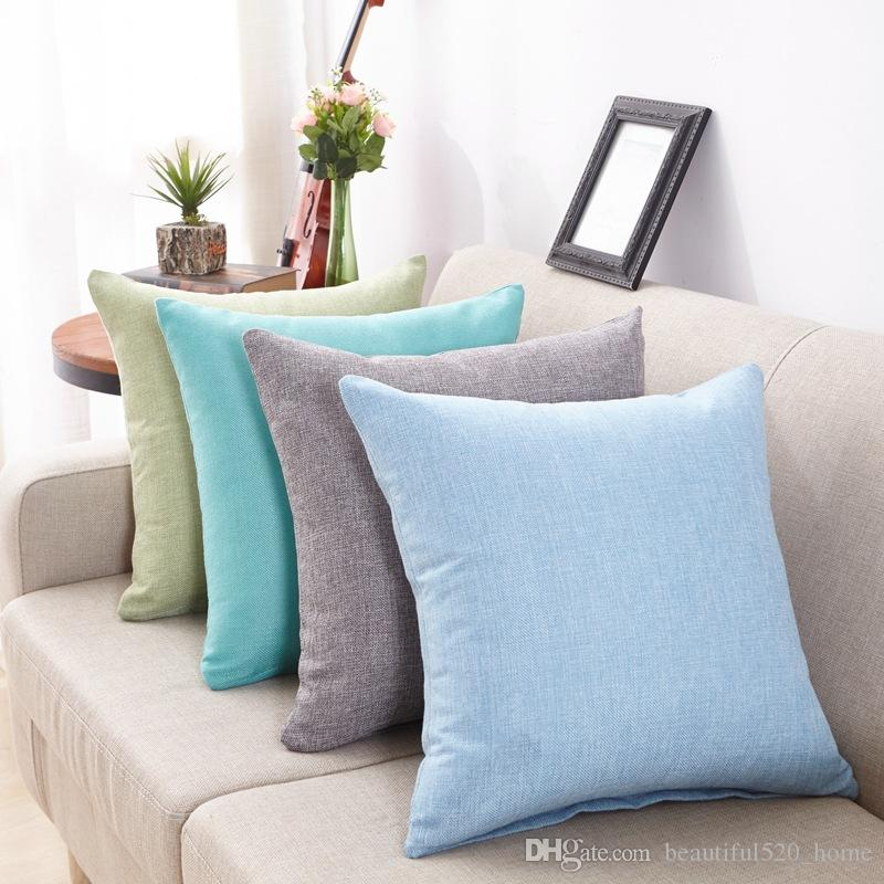 Cotton Linen Pillow Covers 8 Solid Color Square Throw Pillowcase Cassical Fashion Decorative Cushion Cover BH18022