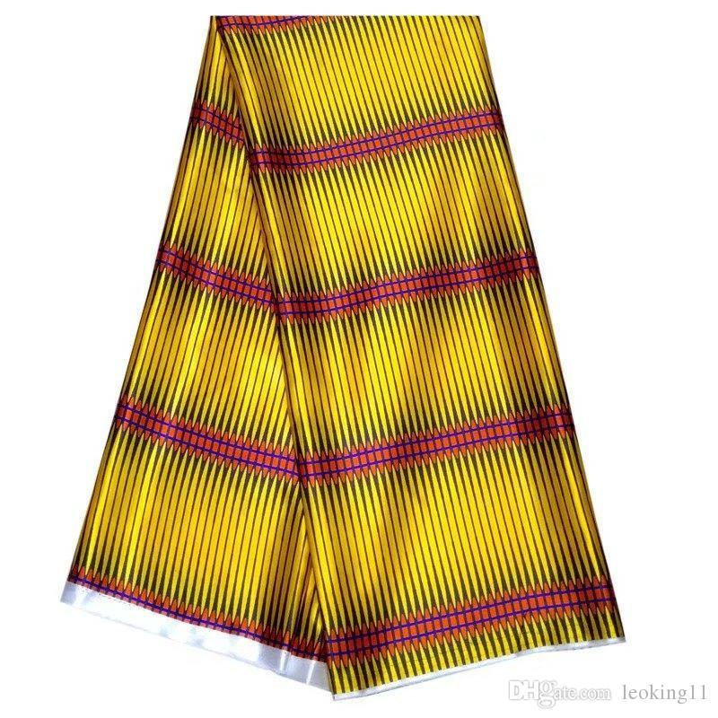 5 Yards / pc Meraviglioso tessuto in chiffon di seta stampato giallo e giallo tessuto africano Rayon liscio e morbido per abito LBS1-5