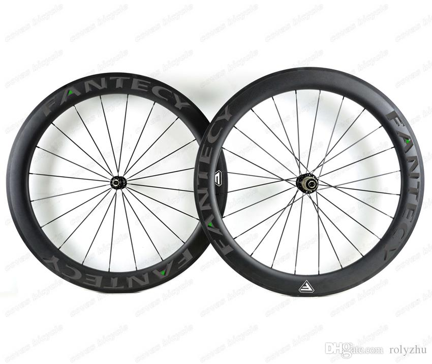 FANTECY!700C 60mm depth road bike Full carbon wheels 25mm width Clincher/Tubular road bicycle carbon wheelset with Powerway R36 hub