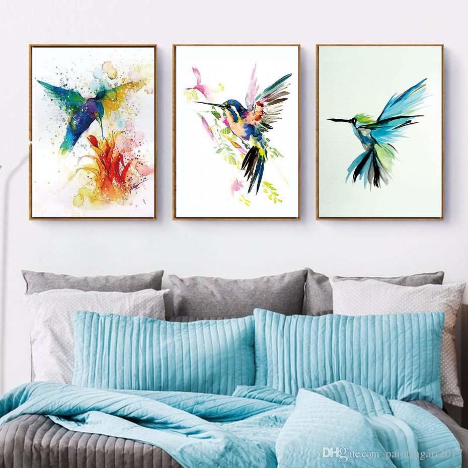 3piece Nordic Watercolor Bird Poster And Prints On Canvas Painting Art Prints HD Decoration Wall Picture Home Decor For The Hall