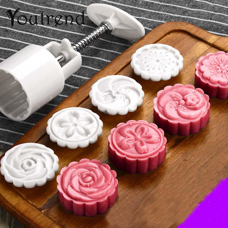 5Pcs/lot Hand Pressing 50g Round Moon Cake Mold Belt 4 Stamps Cookie Cutter Pastry Moon Cake Molds