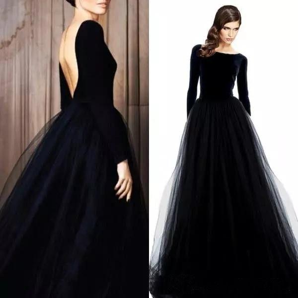 Elegant Long Sleeves Velvet Evening Dresse Sexy Backless Black Prom Party Dress Bateau Neck Tulle Skirt Long Formal Dresses Wear