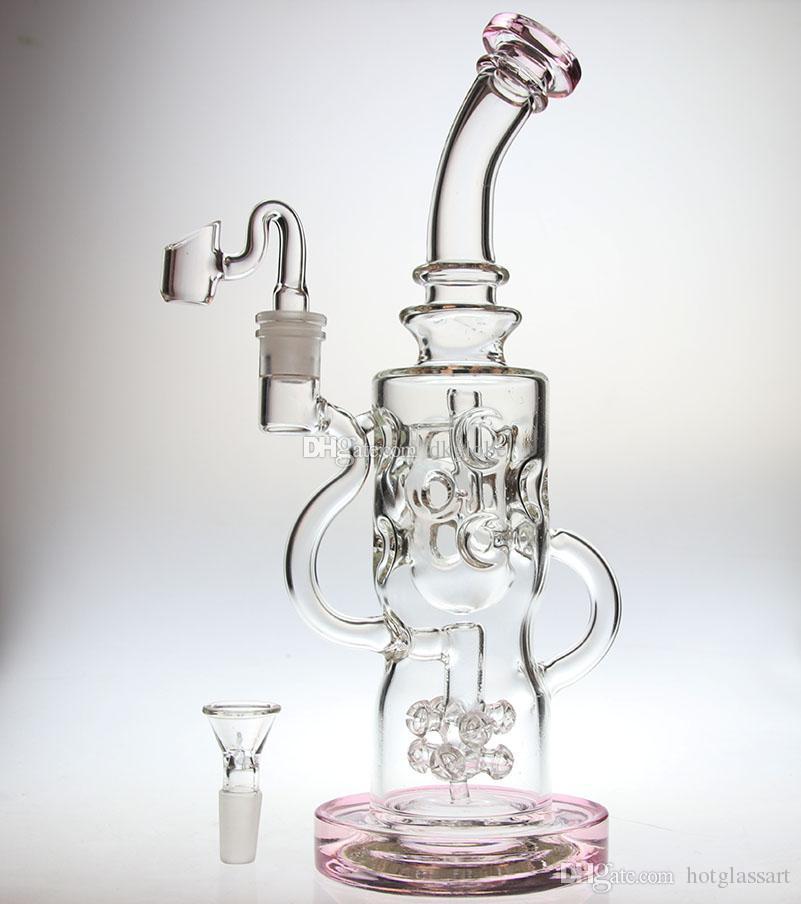 """caldo 11,5 """"vetro spesso FTK riciclatore di vetro rosa bong gorgogliatore con cospetta perc riciclare sistema unico tubo dell'acqua banger chiodo 14.4mm giunto"""
