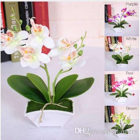 Artificial Butterfly Orchid Flower + vase Set Real Touch leaves Artificial Plants Overall Floral For Wedding Gift