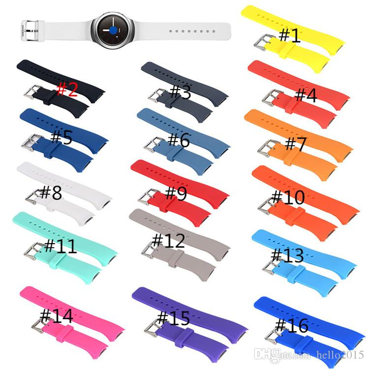 16 Colors Silicone Watchband for Samsung Gear S2 R720 R730 Smart Watch Band Strap Sport Watch Replacement Bracelet for SM-R720 SM-R730 Band