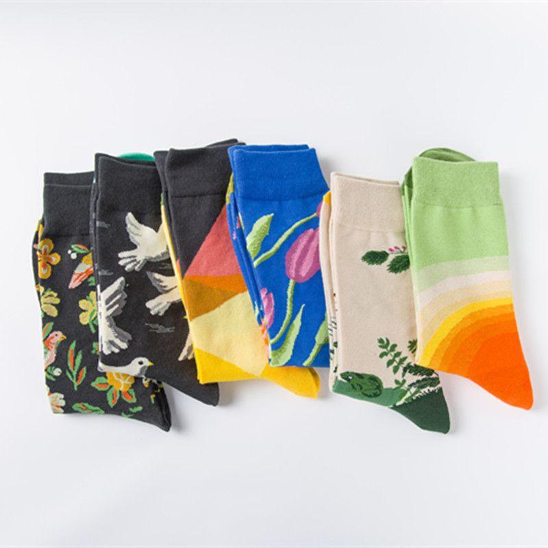 Erkek Moda Elbise Çorap Pamuk Renkli Düğün Erkek Çorap Yenilik Bitki Deniz Hayvan Desenli Soks2PCS = 1 PAIRS