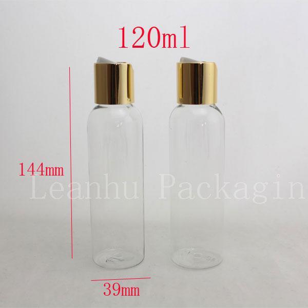 120ML X50 فارغة شفافة حاويات زجاجة مستحضرات التجميل مع الصحافة القرص الألومنيوم الذهب سقف أعلى، وكأب الألومنيوم غسول bottls 4oz سعرنا