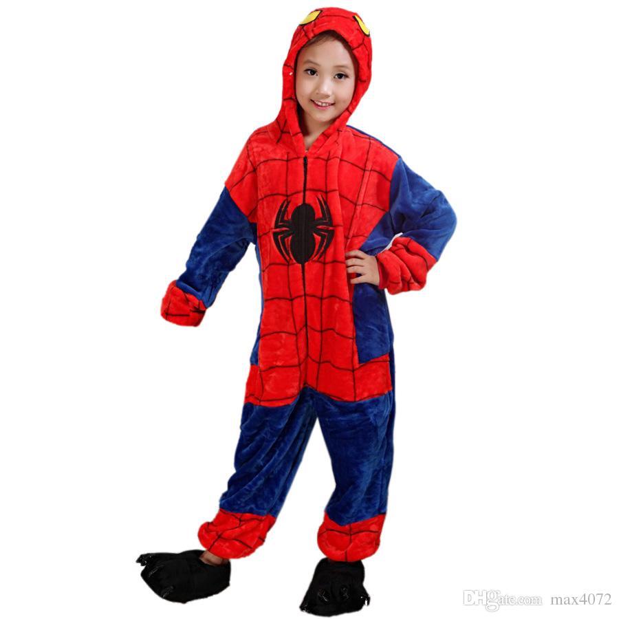fashion kids one-piece pajamas cartoon spiderman cosplay onesie pajamas for 3-10years children boys girls soft flannel sleepwear nightwear