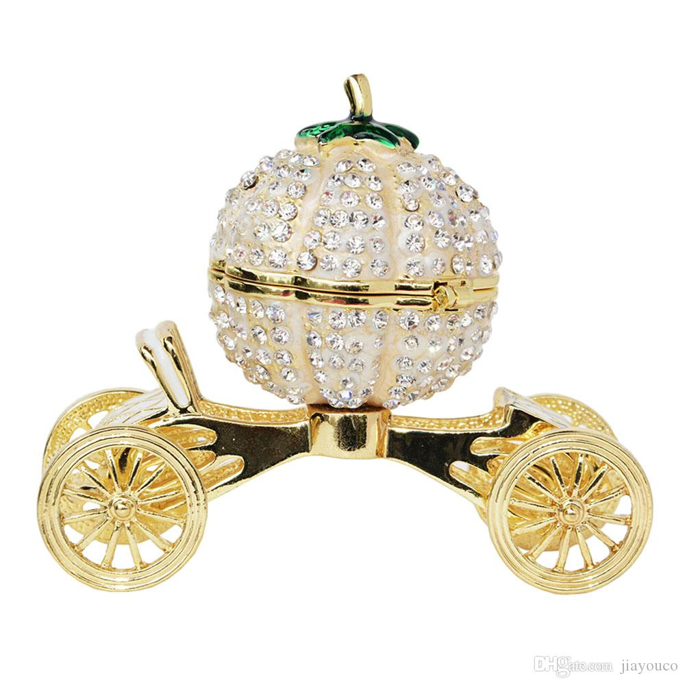 Crystal Bejeweled Pumpkin Carriage Trinket Jewelry Box Faberge Russian Wedding Ring Gift Favor Decoration Metal Crafts Tabletop