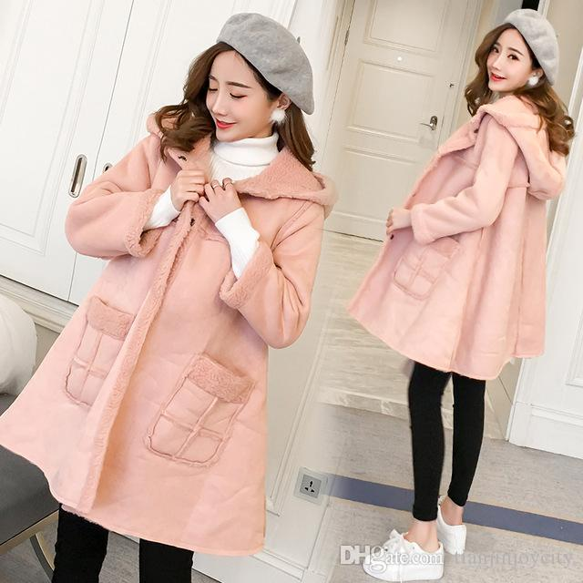 Pink Velvet Maternity Jackets Hoodied A Line Loose Coats Clothes for Pregnant Women Autumn Winter Pregnancy Outwear