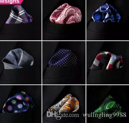 Ассорти мужские карманные квадраты носовые платки платок платок большой размер аксессуар Бесплатная доставка галстуки галстуки MOQ 20 шт.