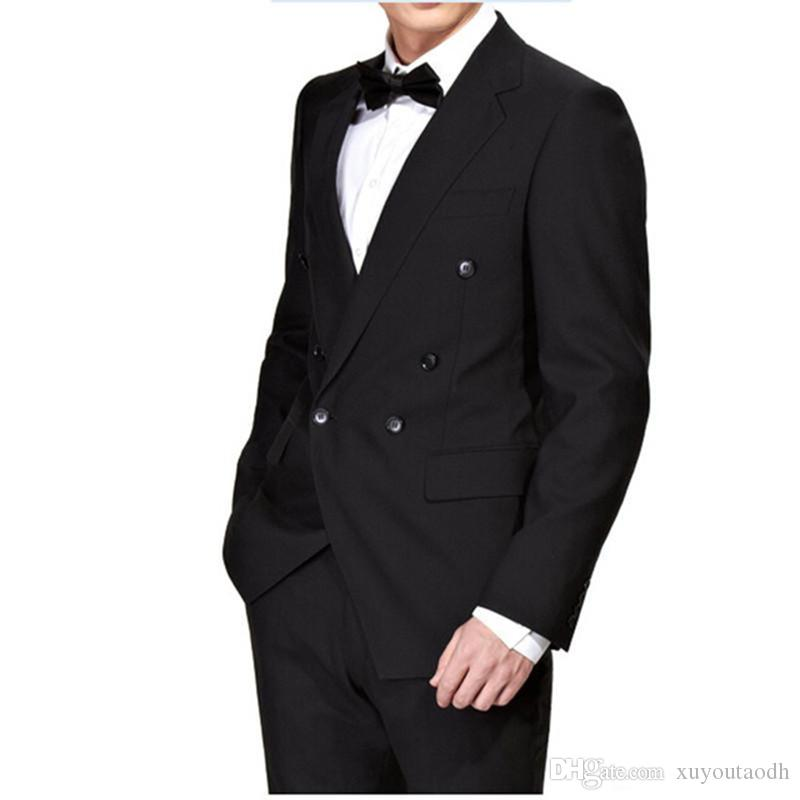 Men Suits 2018 Black Notched Lapel Double Breasted Custom Made Wedding Suits Bridegroom Tuxedo Blazer Slim Fit Formal Best Man Prom 3Piece