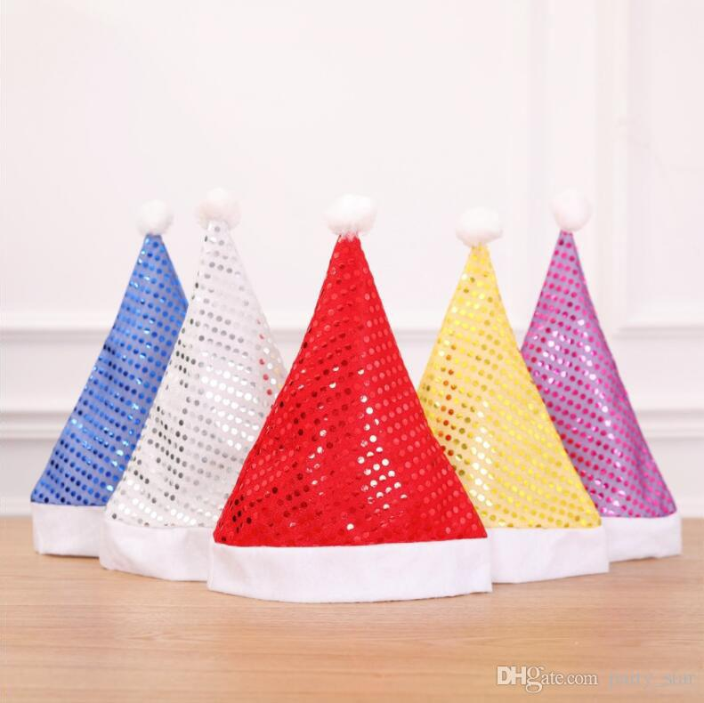 5 Color Fashion Paillette Christmas Hat Birthday Party Personality Cap Christmas Decoration Props Red Gold Silver Blue Purple