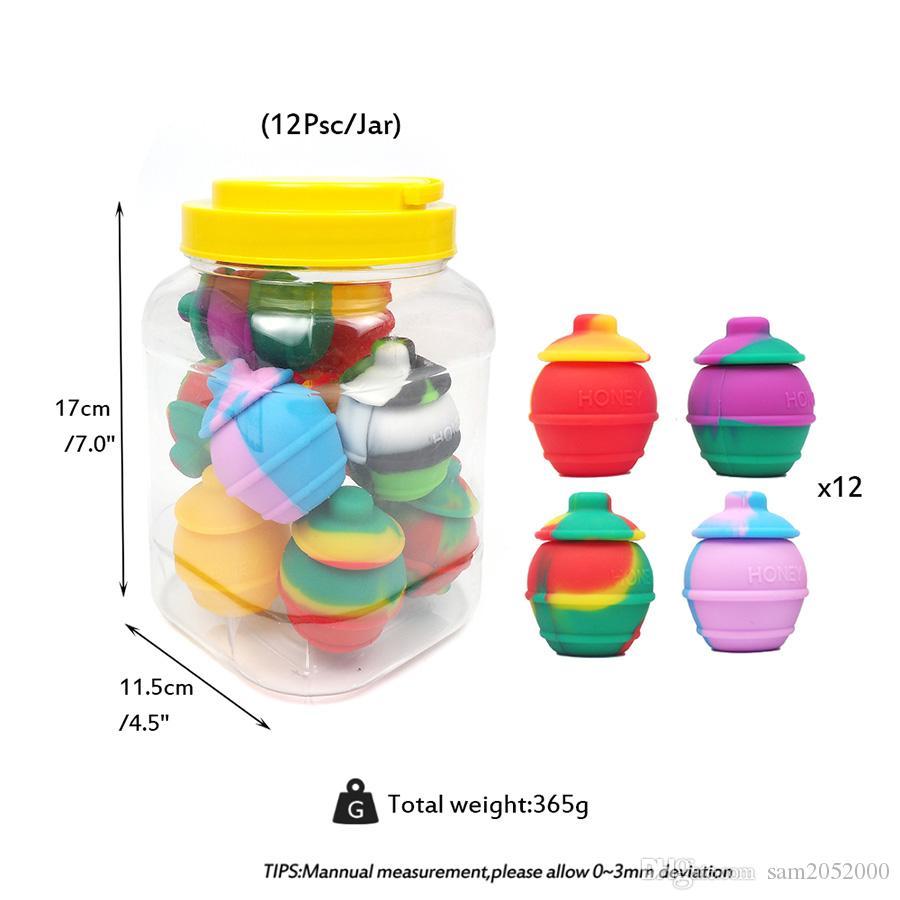 Contenitore di barattolo della cera del barattolo del barattolo del silicone della forma del barattolo del silicone DAB dell'olio del silicone, approvato dallo a colori Disponibile il trasporto libero