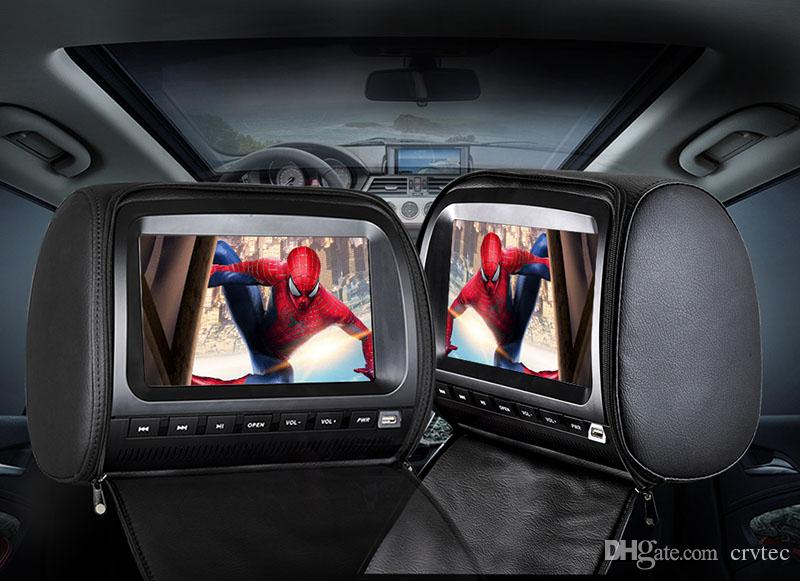 2PCS 9 inch car headrest monitor dvd video player digital Lcd screen with 1080P USB SD FM IR Speaker Game black for car rear seat