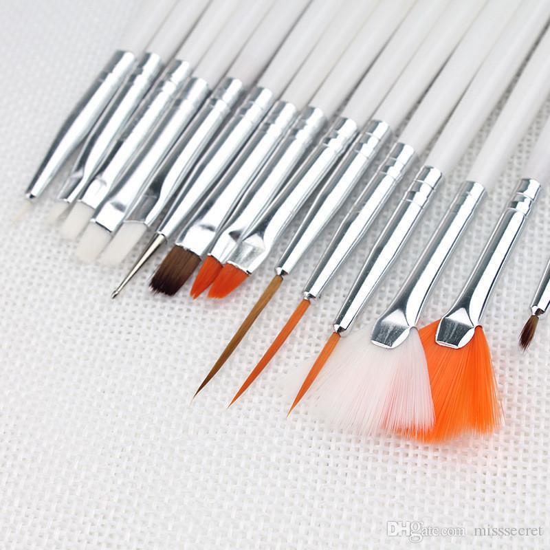 15 개 / 거짓 네일 팁 UV 네일 젤 폴란드어 펜 회화 설정 네일 아트 장식 브러쉬 세트