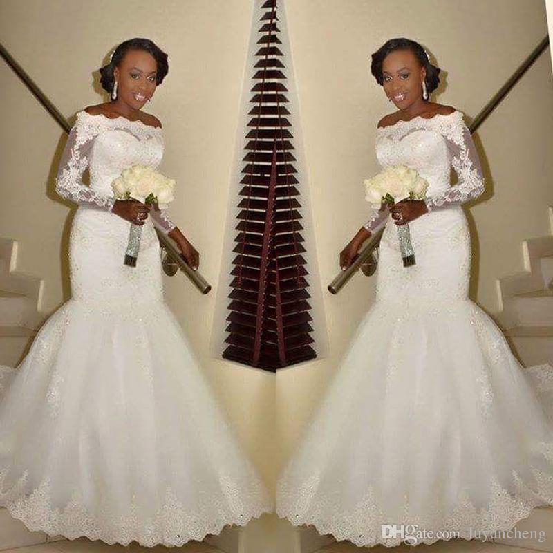 2018 Splendido Boat Neck Mermaid Abiti da sposa maniche lunghe in pizzo Appliques Robe De Matrimonio Perline Glamorous Abiti da sposa da sposa Plus Size