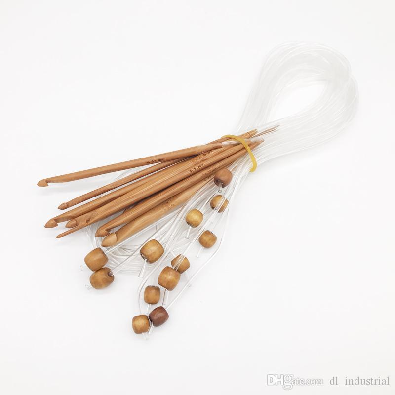 Bamboo Crochet Hook set Length 1.2m various specifications DIY hand knitting needle with transparent tube for blanket knitting DL_KNT021